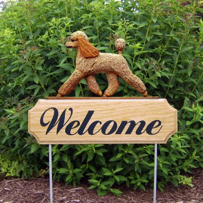 Poodle-Dog-Breed-Oak-Wood-Welcome-Outdoor-Yard-Sign-Apricot-400706810071