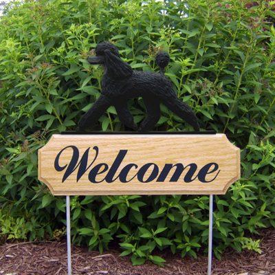 Poodle-Dog-Breed-Oak-Wood-Welcome-Outdoor-Yard-Sign-Black-181404203845
