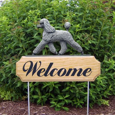 Poodle-Dog-Breed-Oak-Wood-Welcome-Outdoor-Yard-Sign-Grey-400706810838
