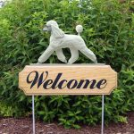 Poodle-Dog-Breed-Oak-Wood-Welcome-Outdoor-Yard-Sign-White-181404204762
