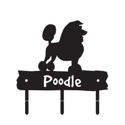 Poodle-Dog-Breed-Silhouette-Leash-Hook-Holder-Key-Rack-Metal-Figurine-180836107870