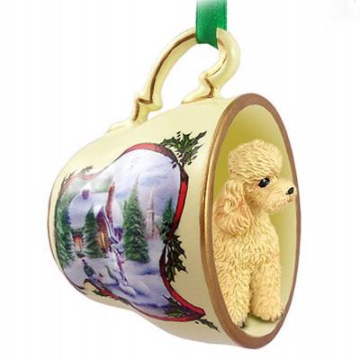 Poodle-Dog-Christmas-Holiday-Teacup-Ornament-Figurine-Apricot-Sport-181293809639