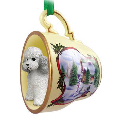Poodle-Dog-Christmas-Holiday-Teacup-Ornament-Figurine-Gray-Sport-400249385145