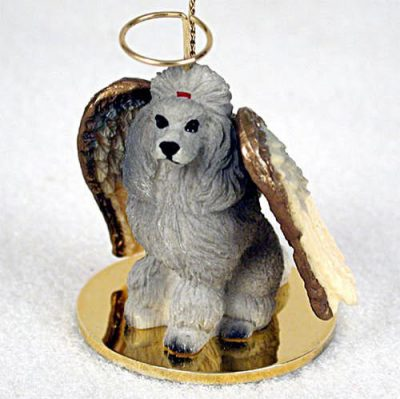 Poodle-Dog-Figurine-Angel-Statue-Hand-Painted-Gray-180675021708