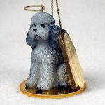 Poodle-Dog-Figurine-Angel-Statue-Hand-Painted-Gray-Sportcut-400219976389