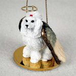 Poodle-Dog-Figurine-Angel-Statue-Hand-Painted-White-180675021740