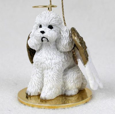 Poodle-Dog-Figurine-Angel-Statue-Hand-Painted-White-Sportcut-180675021761