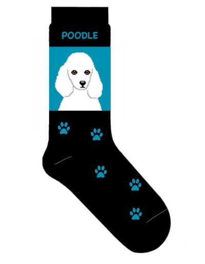 Poodle Socks Lightweight Cotton Crew Stretch White