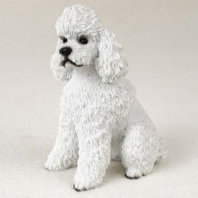 Poodle-Hand-Painted-Collectible-Dog-Figurine-White-Spor-400226240575