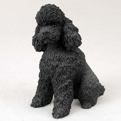 Poodle-Hand-Painted-Dog-Figurine-Statue-Black-Sport-400321180890