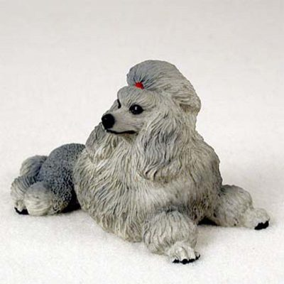 Poodle-Hand-Painted-Dog-Figurine-Statue-Gray-400201748177