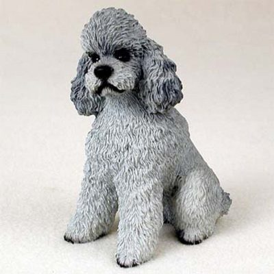 Poodle-Hand-Painted-Dog-Figurine-Statue-Gray-Sport-400201748192