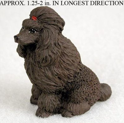 Poodle-Mini-Resin-Dog-Figurine-Statue-Hand-Painted-Chocolate-180644349837