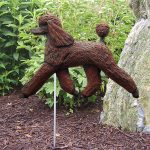 Poodle-Outdoor-Garden-Dog-Sign-Hand-Painted-Figure-Brown-400688314177