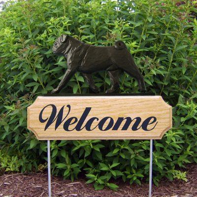 Pug-Dog-Breed-Oak-Wood-Welcome-Outdoor-Yard-Sign-Black-181404205132