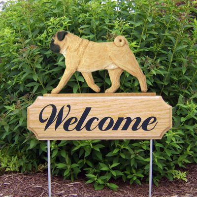 Pug-Dog-Breed-Oak-Wood-Welcome-Outdoor-Yard-Sign-Fawn-400706811325