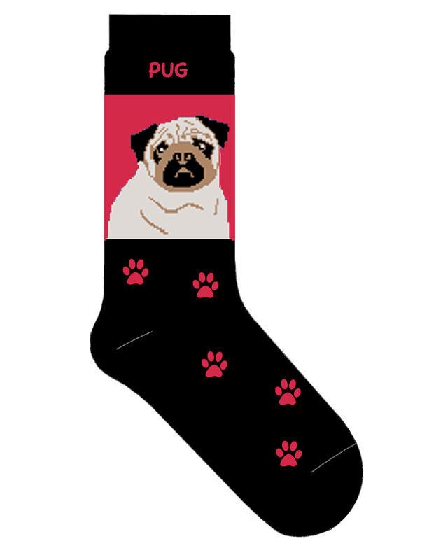 Pug Socks Lightweight Cotton Crew Stretch Red