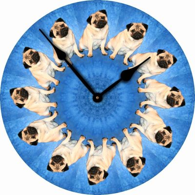 Pug-Dog-Wall-Clock-10-Round-Wood-Made-in-USA-181405039993