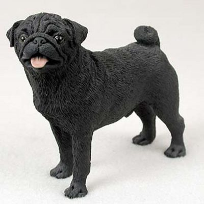 Pug-Hand-Painted-Collectible-Dog-Figurine-Black-180741455960