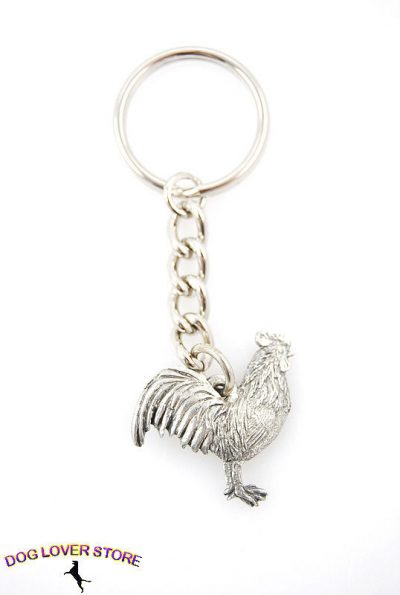 Rooster-Fine-Pewter-Silver-Keychain-Key-Chain-Ring-400402433657