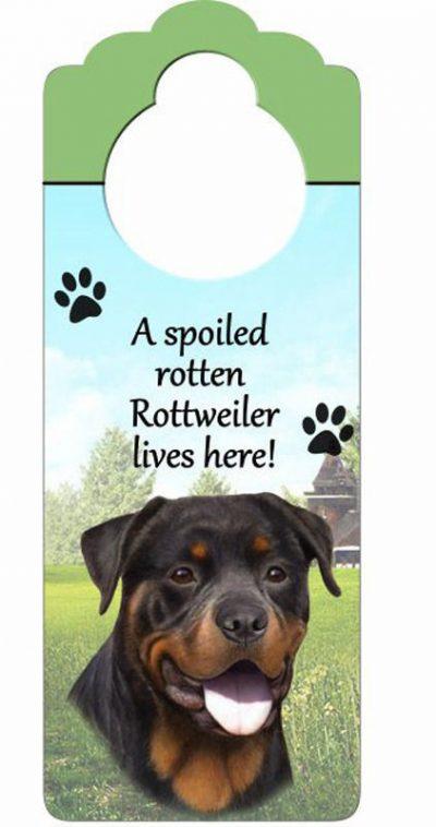 Rottweiler-Dog-Door-Knob-Handle-Hanger-Sign-Spoiled-Rotten-1025-x-4-181160027374