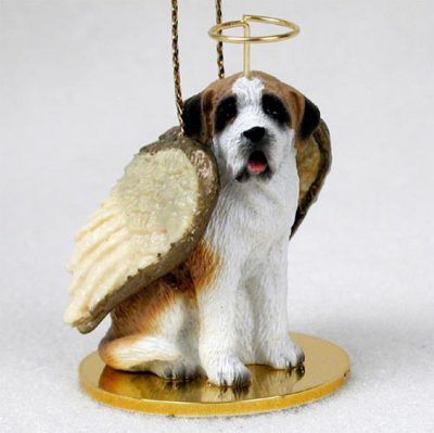 Saint-Bernard-Dog-Figurine-Angel-Statue-Smooth-400482567201