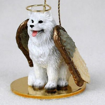 Samoyed-Dog-Figurine-Ornament-Angel-Statue-Hand-Painted-400671442668