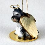 Schnauzer-Dog-Figurine-Angel-Statue-Hand-Painted-Gray-400219966225