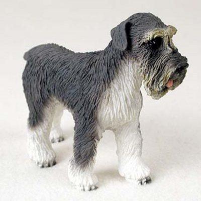 Schnauzer-Hand-Painted-Dog-Figurine-Statue-Gray-400201747278