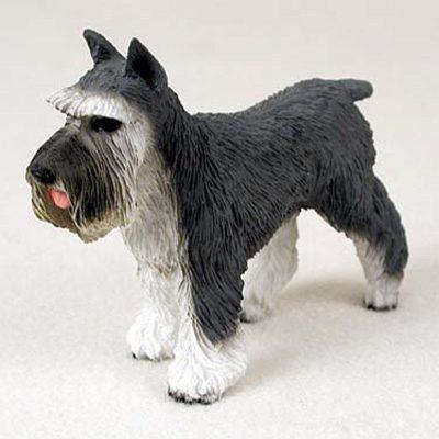 Schnauzer-Hand-Painted-Dog-Figurine-Statue-Gray-400201748257