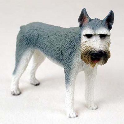 Schnauzer-Hand-Painted-Dog-Figurine-Statue-Gray-400201748271