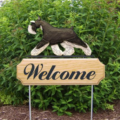 Schnauzer-Miniature-Dog-Breed-Oak-Wood-Welcome-Outdoor-Yard-Sign-BlackSilver-181404207603