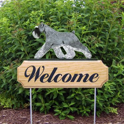 Schnauzer-Uncropped-Dog-Breed-Oak-Wood-Welcome-Outdoor-Yard-Sign-SaltPepper-400706813411