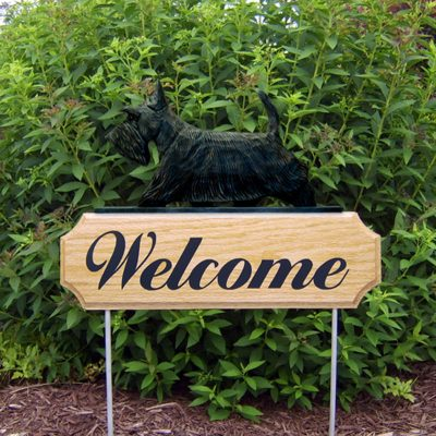 Scottish-Terrier-Dog-Breed-Oak-Wood-Welcome-Outdoor-Yard-Sign-Brindle-400706813846