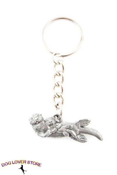 Sea-Otter-Pup-Fine-Pewter-Silver-Keychain-Key-Chain-Ring-181280138916