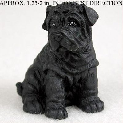Shar-Pei-Collectible-Mini-Resin-Hand-Painted-Dog-Figurine-Black-180855999865