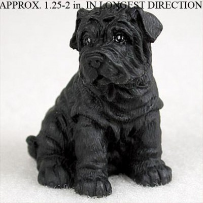 Shar-Pei-Collectible-Mini-Resin-Hand-Painted-Dog-Figurine-Black-180855999865