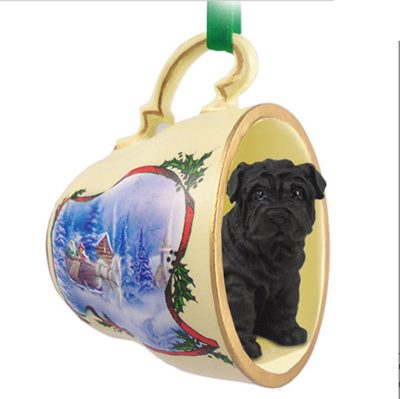 Shar-Pei-Dog-Christmas-Holiday-Teacup-Sleigh-Ornament-Figurine-Black-400327305742