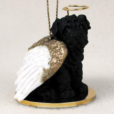 Shar-Pei-Dog-Figurine-Angel-Statue-Black-181337618837