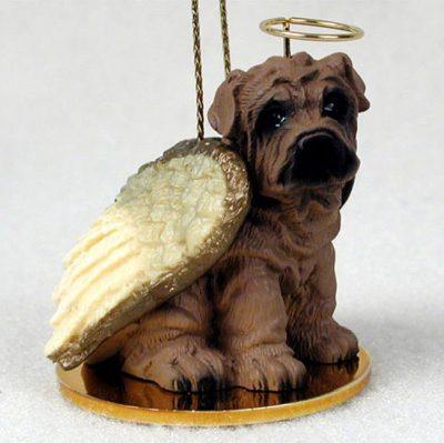 Shar-Pei-Dog-Figurine-Angel-Statue-Hand-Painted-Brown-400482567986