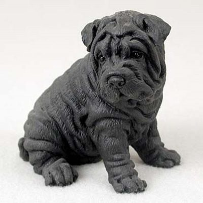 Shar-Pei-Hand-Painted-Collectible-Dog-Figurine-Black-400590457930