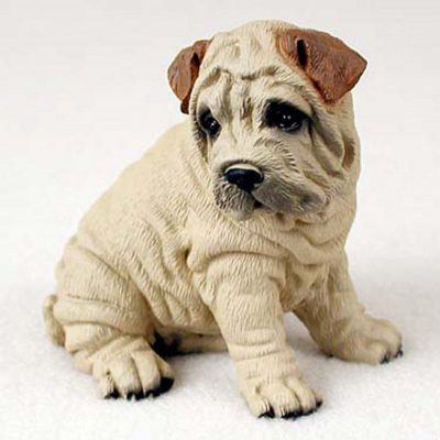 Shar-Pei-Hand-Painted-Dog-Figurine-Statue-Cream-180638150211