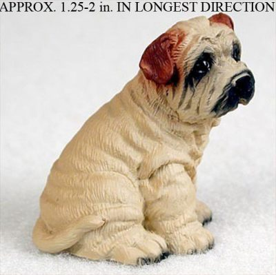 Shar-Pei-Mini-Resin-Dog-Figurine-Statue-Hand-Painted-Cream-180644350098