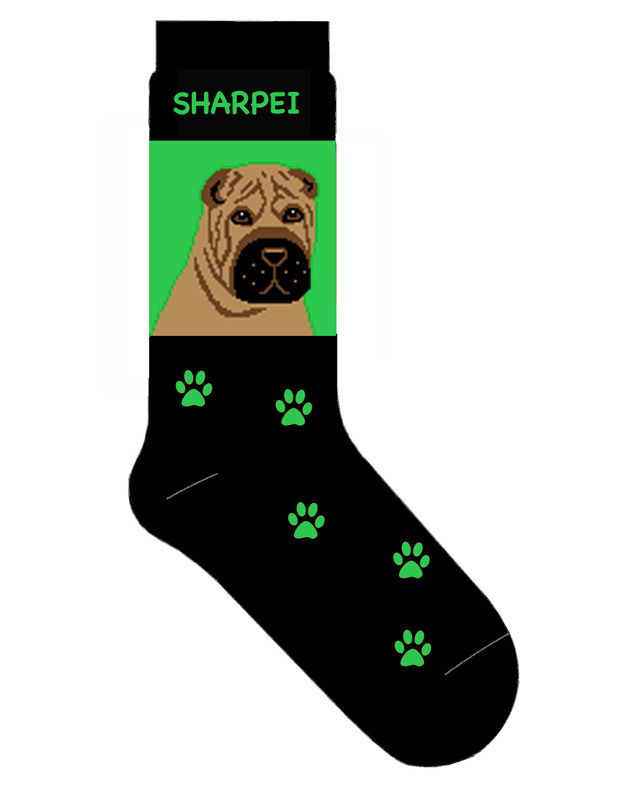 Shar Pei Socks Lightweight Cotton Crew Stretch