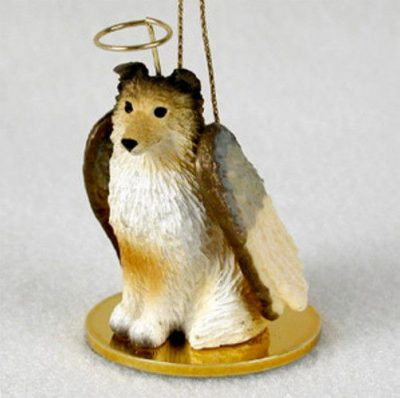 Sheltie-Dog-Figurine-Ornament-Angel-Statue-Hand-Painted-Sable-181240370194