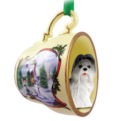 Shih-Tzu-Dog-Christmas-Holiday-Teacup-Ornament-Figurine-GrayWht-400249385228