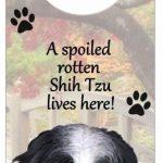 Shih-Tzu-Dog-Door-Knob-Handle-Hanger-Sign-Spoiled-Rotten-1025-x-4-BlkWht-Puppy-181160028564
