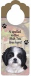 Shih-Tzu-Dog-Door-Knob-Handle-Hanger-Sign-Spoiled-Rotten-1025-x-4-BlkWht-Puppy-181160028564
