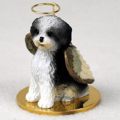 Shih-Tzu-Dog-Figurine-Angel-Ornament-Statue-Puppy-BlackWhite-181337621030
