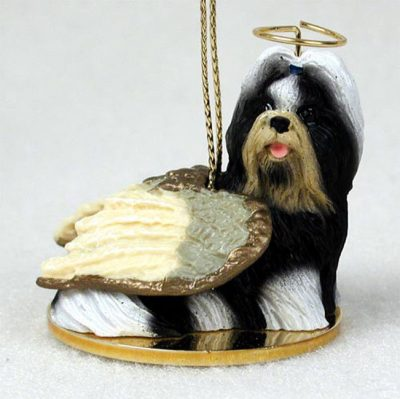 Shih-Tzu-Figurines-Dog-Angel-Statue-Black-White
